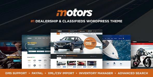 Motors Car Dealer Rental Classifieds WordPress theme